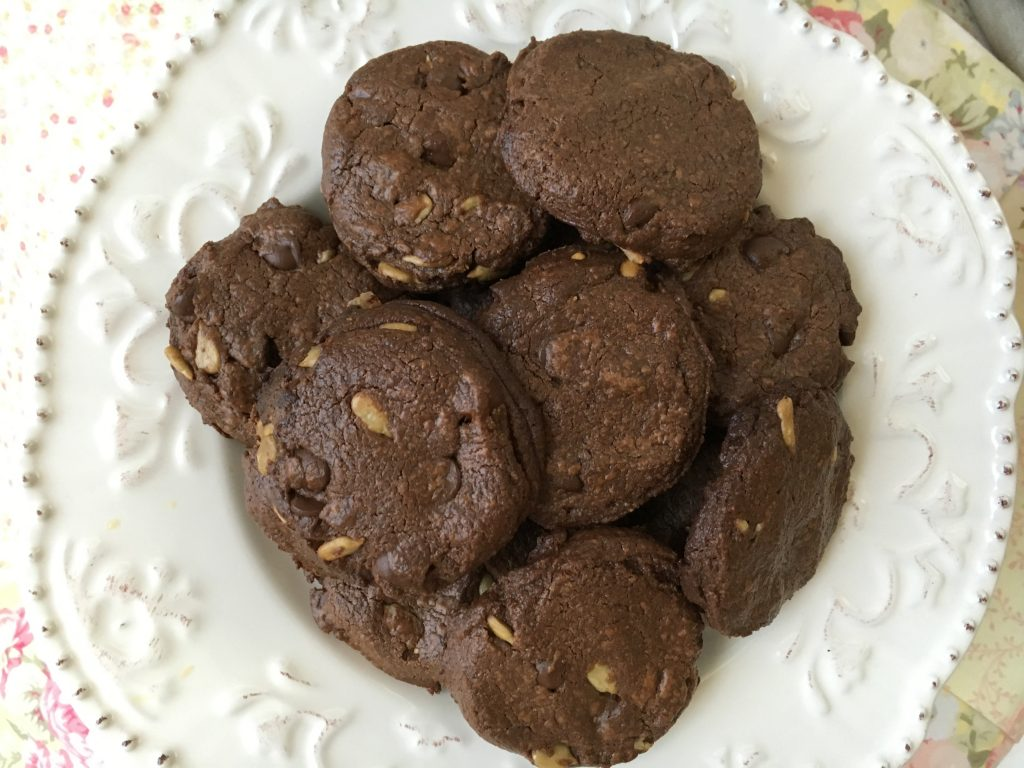 double chocolate sunflower cookie