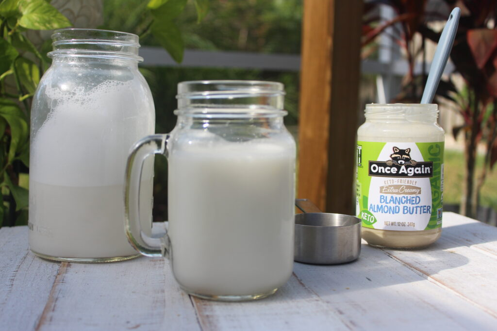Almond Milk with jar of Once Again Blanched Almond Butter